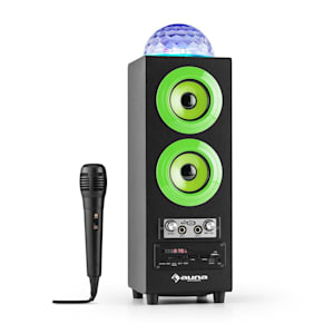 DiscoStar Green Enceinte portable Bluetooth 2.1 USB SD UKW AUX LED -verte