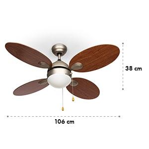 """Valderama Ventilateur de plafond 2-en-1 42"""" 60 W plafonnier aspect cerisier"""