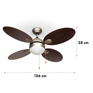 """Valderama ventilatore da soffitto 2 in 1 42"""" 60W lampadario palissandro"""