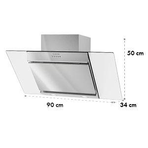 Zola Extractor Hood Air Purifier Stainless Steel 90cm Wall Mounting 635m³/h Glass