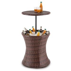 Beerboy Table de jardin & réfrigérateur à boissons Ø50cm rotin marron