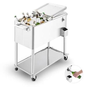 Springbreak2000chariot-bar glacière chariot frigorifique de terrasse 80L - inox