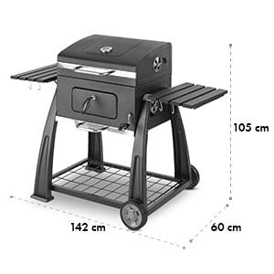 Bigfoot Charcoal Grill Smoker BBQ Grill 55 x 40 cm Steel Black