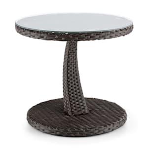 Tabula, kétszínű, barna, kisasztal, 50 cm, üveg, polirattan, alumínium