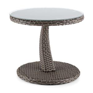 Tabula table d'appoint 50 cm plateau en verre rotin synthétique aluminium bicolore - taupe