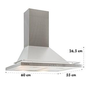 Timea, digestor, ušľachtilá oceľ, 60 cm, 416 m³/h, nástenná montáž
