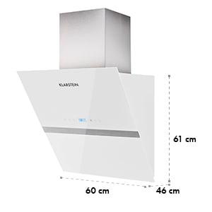 Aurea VII Dunstabzugshaube kopffrei 195W 60cm 620 m³/h Touch Glas weiß