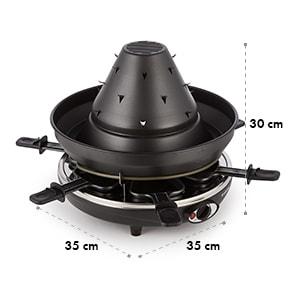 Klarstein Taste Volcano tatárkalap, raclette grillező, 1500 W, 6 személy, fekete