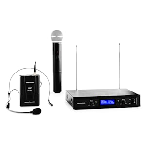 VHF-400 Duo3 2-Kanal VHF-Funkmikrofon-Set 1x Headset + 1x Handmikrofon