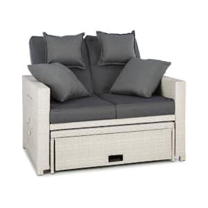 Komfortzone Rattan-Lounge-Sofa Zweisitzer Polyrattan Klapptische