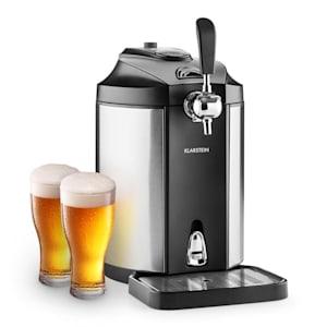 Skal Bierzapfanlage Bierkühler | für 5 l Fässer | Druckmittel:  CO2, inkl. 3 Patronen | 6 Kühltemperaturen: 2 - 12 °C | silberfarbener Zapfhahn  | Tropfschale | Gehäuse: Edelstahl