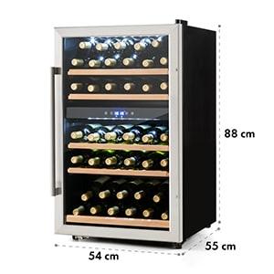 Klarstein Vinamour 40D, 135 l, hladnjak za vino, 2 zone, 41 flaša, prednja strana od nehrđajućeg čelika