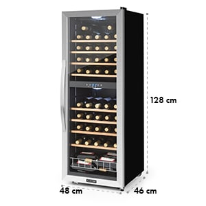 Klarstein Vinamour 54D, vinoteka, 2 zone, 148 l, 54 boce, nehrđajući čelik