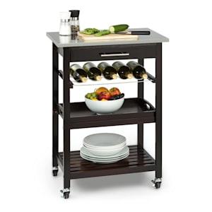 Vermont Kitchen Wagon Serving Trolley Drawer Wine Rack Stainless Steel