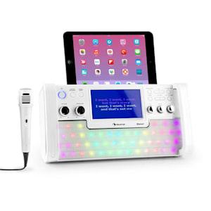 """DiscoFever Chaîne karaoké Bluetooth LED Ecran TFT 7"""" lecteur CD USB – blanc"""