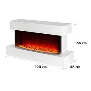 Studio-2, elektrický krb, LED simulácia plameňa, 1000/2000 W, 40 m², biely