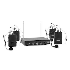 VHF-4-HS 4-Kanal-VHF-Funkmikrofon Set 4xHeadset 100m