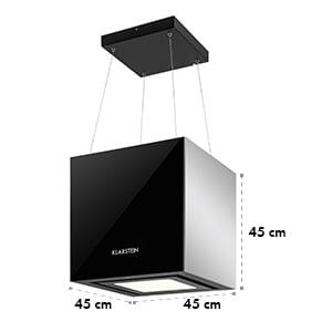 Kronleuchter, 600m³/h, fekete, mennyezeti páraelszívó, felakasztható, LED, üveg, tükröződő oldalak
