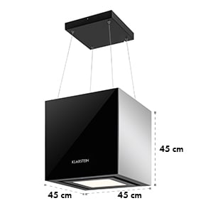 Kronleuchter, 600m³/h, crni, stropni usisavač para, može se objesiti, LED, staklo, strane od ogledala