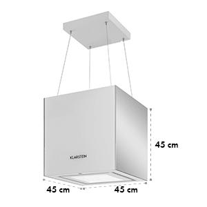 Kronleuchter Dunstabzugshaube Deckenhaube LED Glas verspiegelt weiß