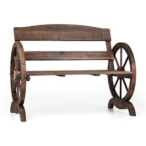 Ammergau, záhradná lavica, drevená, kolesá voza, 108 x 65 x 86 cm, jedľové opaľované drevo