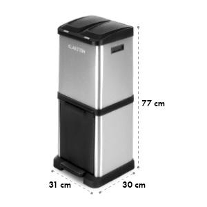 Ökosystem² odpadkový kôš triedič odpadkov 30l (1 x15 l, 2x7,5 l) PE ušľachtilá oceľ