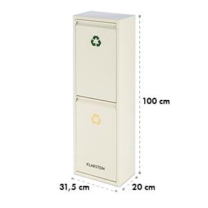 Ordnungshüter 2 Rubbish Bins Waste Separator 30L (2 x 15 L) Creme Beige