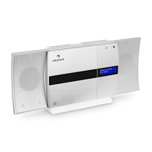 V-20 DAB Impianto Stereo Verticale Bluetooth NFC CD USB MP3 DAB+ argento-bianco
