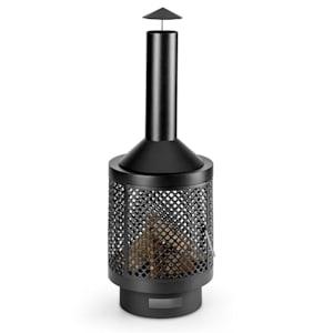 Essos Garden Oven Wood Stove Ø45cm Steel Plate Lattice Wall Black