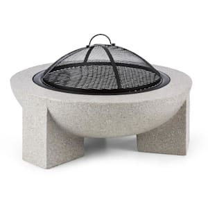 Troja brasero Ø 75cm grille de barbecue pierre reconstituée acier MgO