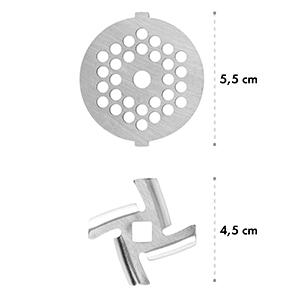 4-részes darálótárcsa szett, tartozék a Lucia konyhai robotgéphez, 3-4,5-7 mm, INOX