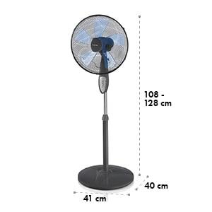 Summerjam, álló ventilátor, szürke, 41 cm, 50 W, 3 sebességfokozat, 69,18 m³/min. légáramlás, távirányító mellékelve