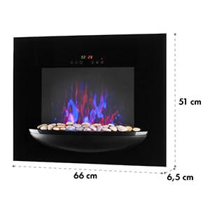 Feuerschale Lareira Elétrica de Parede Elétrica 1800W Chamas Artificiais Pedra decorativa Preta