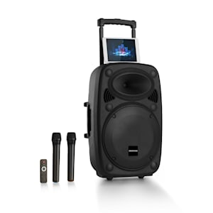 "Streetstar 2.0 15 Mobile PA-Anlage 15"" Subwoofer Trolley Display BT USB/SD/MP3 Line-Out AUX 2xUHF-Funkmikrofone Fernbedienung 1000 Watt max."