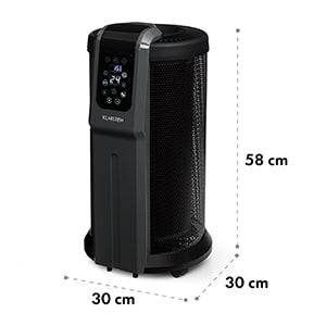 Datscha Digital, elektrický ohrievač, 360°, termostat, diaľkový ovládač, časovač, 2200 W, čierny