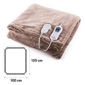Dr. Watson L Electric Heating Blanket 120W Washable 150x100cm Microplush Beige