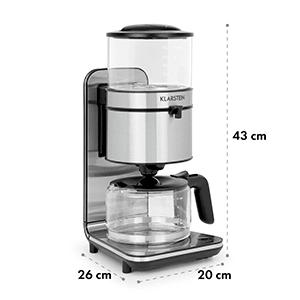 Soulmate Machine à café cafetière filtre 10 tasses 1800W verre & inox