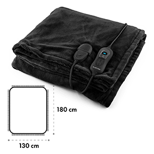 Dr. Watson XL Electric Heating Blanket 120W Washable 180x130cm Microplush Black