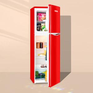 Monroe XL Red kombinovaná chladnička s mrazničkou, 97/39 l, a +, retrolook, červená barva