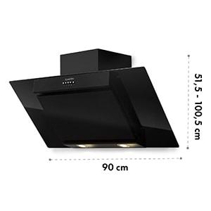 Zola 90 digestor, 90 cm, 640 m³/h, LED, sklo, ušľachtilá oceľ, čierna farba