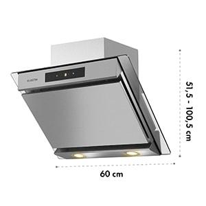 Balzac 60, kuhinjska napa, 60 cm, 210 W, 640 m³/h, LED, na dotik, nerjaveče jeklo, steklo