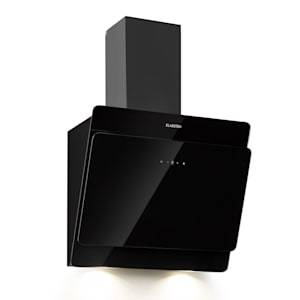 Aurica 60 cooker bonnet | head-free | 60 cm | wall-mounted | 165 W | exhaust air output: 600 m³/h | 3 levels | LED: 2 x 1.5 W | touch panel | 2-piece black chimney | safety glass