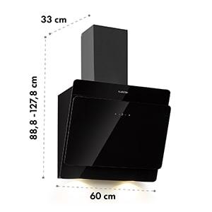 Aurica 60, kuhinjska napa, 165W, 3 stopnje, 620 m³/h, LED, steklo, črne barve