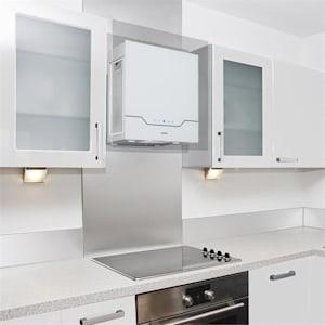 Karree Dunstabzugshaube Umluft 60 cm 640 m³/h LED Edelstahl Glas