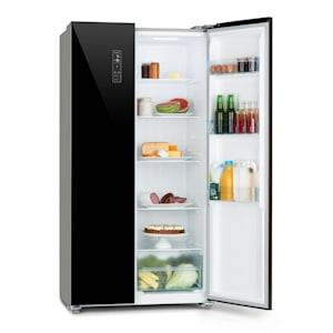 Grand Host L, kombinace chladničky s mrazničkou, prosklené dveře, černá