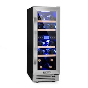 Vinovilla 17 Built-In Duo Vinkylskåp | 53l | 17 vinflaskor | glasdörr | innerbelysning: röd, blå, vit | 4 insatser av bokträ | 2 kylzoner | anti-vibration | touch-kontrollpanel | EK: G | fristående eller för inbyggnad / underbyggnad | framsida av ädelstål