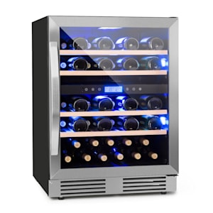 Vinovilla 43 Built-In Duo Vinkylskåp | 129l | 43 vinflaskor | glasdörr | innerbelysning: röd, blå, vit | 4 insatser av bokträ | 2 kylzoner | anti-vibration | touch-kontrollpanel | EK: G | fristående eller för inbyggnad/underbyggnad | framsida av ädelstål