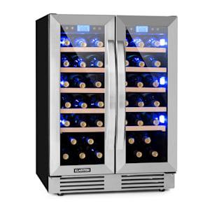 Vinovilla 42 Twin Built-In Duo Vinkylskåp | 126 liter | 42 vinflaskor | 2 glasdörrar | innerbelysning: rött, blått, vitt | 2 x 5 instaser av bokträ | 2 kylzoner | touch-kontrollpanel | EK: G | fristående eller för inbyggnad/underbyggnad