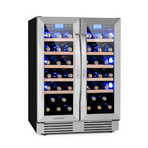 Vinovilla 42 Twin cave à vin encastrable Duo | 126 litres | 42 bouteilles de vin | 2 portes vitrées | Éclairage intérieur : rouge, bleu, blanc | 2 x 5 clayettes en bois de hêtre | 2 zones de refroidissement | Panneau de commande tactile | CEE : G