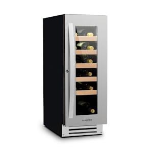 Vinovilla 20 cave à vin encastrable | 50 l | 20 bouteilles | porte vitrée | éclairage intérieur | façade sans soudure : inox | sans odeur grâce au filtre à charbon actif | panneau de commande tactile | sur pied ou à encastrer / sous le comptoir | 40 dB